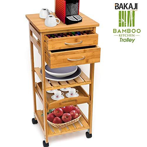 Bakaji carrello cucina multiuso in legno di bambù 3 ripiani con piano vassoio rimovibile 2 cassetti con portaposate portacapsule piano per macchina espresso ruote girevoli dimensione 40 x 36 x 80 cm