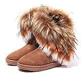 BAINASIQI Damen Winter Schnee Stiefel Warm Gefüttert Stiefeletten Boots Kurz Schlupfstiefel Warm Pelz Winter Schuhe (EU 37, Braun)