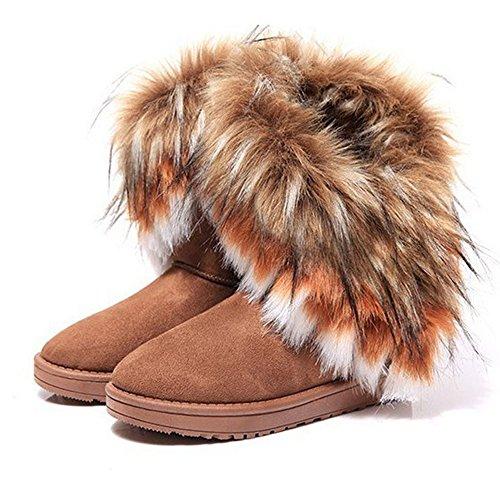 BAINASIQI Damen Winter Schnee Stiefel Warm Gefüttert Stiefeletten Boots Kurz Schlupfstiefel Warm Pelz Winter Schuhe (EU 40, Braun) (Schnee Stiefel Wildleder)