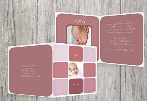 Kartenparadies Danksagung für Geburt Baby Dankeskarte Kästchen, hochwertige Danksagungskarte Baby inklusive Umschläge | 5 Karten - (Format: 145x145 mm) Farbe: HellRotMatt