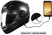 Steelbird SBA-1 7Wings HF Dashing Full Face Helmet with Plain Visor and Detachable Handsfree Device (REGULAR FIT MEDIUM 580 M