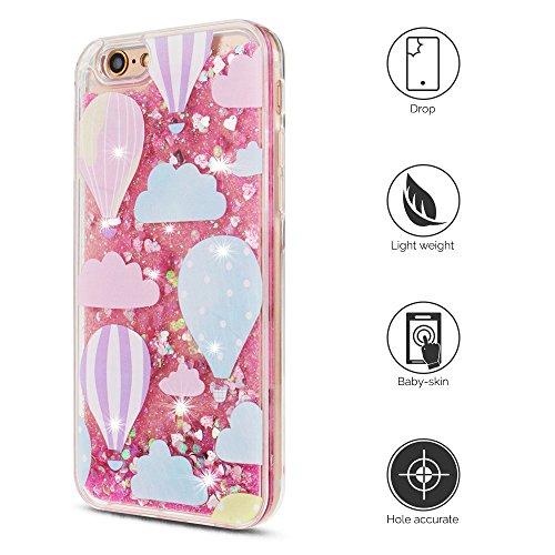 Cover iPhone 6s Custodia iPhone 6 Silicone Quicksand Anfire Morbido Flessibile Trasparente Gel TPU Case per Apple iPhone 6 / 6s (4.7 Pollici) Sabbie Mobili Cover Rosa Bling Glitter Cristallo Stella Fl Mongolfiera