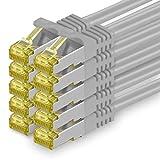Cat.7 Netzwerkkabel 1,5m - Grau - 10 Stück - Cat7 Ethernetkabel Netzwerk Lan Kabel Rohkabel 10 Gb/s (Sftp Pimf) Set Patchkabel mit Rj 45 Stecker Cat.6a