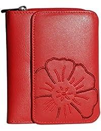 e4557a999c9427 Branco Leder - sehr feine Leder Damen Geldbörse, Portemonnaie, Ladys Wallet  mit aufgesticktem Blumen Motiv in verschiedenen Farben…