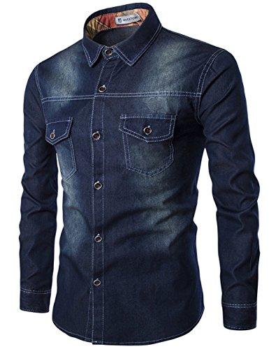 Glestore Uomo Camicie Jean Maniche Lunghe Moda Men Shirts Slim Fit Casual Long Sleves Fashion