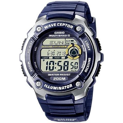 Casio RADIO CONTROLLED - Reloj digital de caballero de cuarzo con correa de resina azul (alarma, cronómetro, alarma, luz) - sumergible a 200 metros