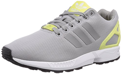 Adidas Originals Zx Flux, Chaussons Sneaker Femme Gris (Medium Grey Heather/Solid Grey/Medium Grey Heather/Solid Grey/Blush Yellow S15-ST)