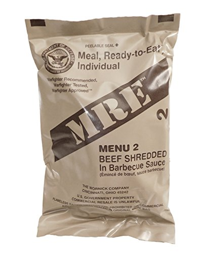 MRE (Meals Ready-to-Eat) Select Your Meal, Genuine US Military Surplus Meals (Shredded Beef Barbecue) by Western Frontier