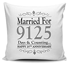 Idea Regalo - married for... Days & conteggio... (25th Silver) a forma di cuscino W/Insert