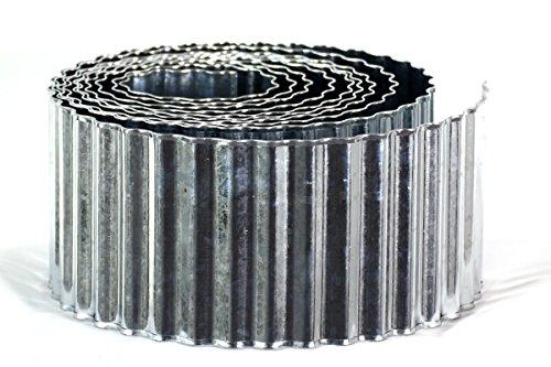 Metall Beeteinfassung verzinkt 0,15 x 6 m, mit Sicherheitskante / Rasenkante / Beetumrandung / Raseneinfassung / Palisade
