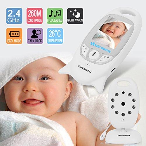 FLOUREON Babyphone mit Kamera Digital Video Baby Monitor Gegensprechfunktion 2-Wege Audio Überwachungskamera Nachtsicht 8 Schlaflieder Temperatursensor - 2