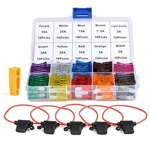 QLOUNI 100 Stücke Standard KFZ Sicherung Set maßgebend Autosicherung Flachsicherung 2A 3A 5A 7,5A 10A 15A 20A 25A 30A 35A für PKW, 18mm -