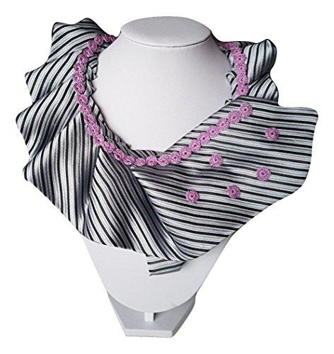 Kette, Seide Krawatte (Frau Krawatte Kragen Kutte Silber lila Streifen handgemachte häkeln elegantes Geschenk für sie)