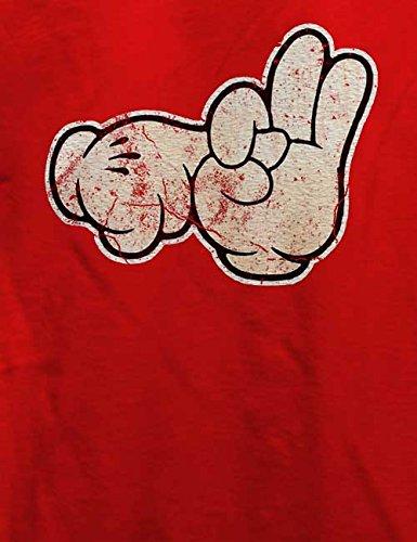 Cartoon Hand Vintage T-Shirt Rot