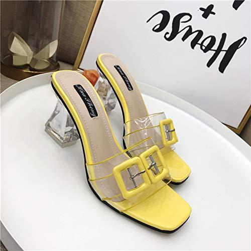 JMMLX Muller Schuhe,Sommer Mode Transparent Doppel-Taste High-Heeled Öffnen-Toed Sandalen Mit Dicken Fersen, Gelb, 38 -