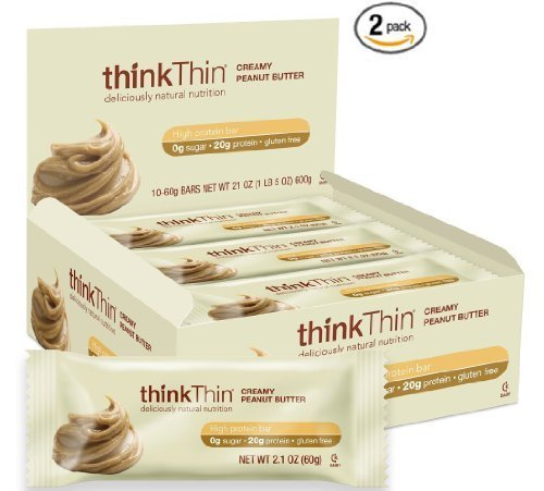 thinkThin Creamy Peanut Butter Protein Bars 60g,10 Count Box, 2 Pack by thinkThin