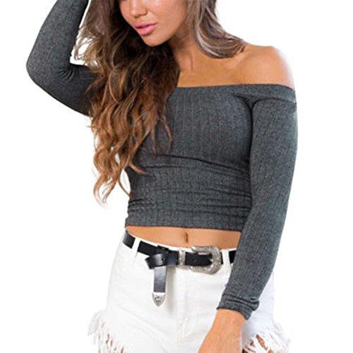 Juleya felpa donna top aderenti corti camicia maniche lunghe spalle scoperte pullover maglia sexy elegante 9 colori s m l
