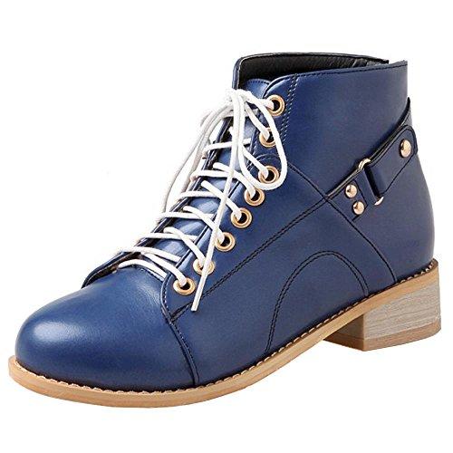 RAZAMAZA Femmes Chukka A Lacets Bottines Haut Cheville Plat 2428 Blue