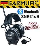 2017 DS-Alert EARMUFF dynamischer 31dB Gehörschutz mit BLUETOOTH und Surround Umgebungswahrnehmung - Extra robuster Radio Kapsel Gehörschutz Kopfhörer mit SmartPhone Anschluss inkl. AUX Kabel