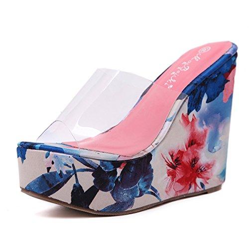 ZYUSHIZ Frauen Schuhe Sommer Western transparente High-Heel Sandalen Hausschuhe Blau