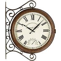 Jardín doble cara reloj de Estación Soporte Grande con temperatura