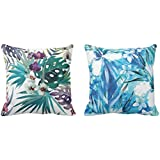 YaYa cafe Printed Blue Floral Flower Throw Cushions Pillow Covers 16x16 inches for Home Decor Sofa Chair Bedroom Living Room - Set of 2