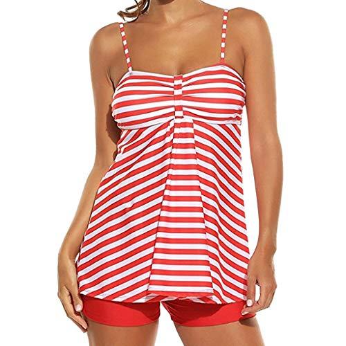 1e3aa0c7b8 BaZhaHei Women's Two Piece Retro Swimsuit Swimming Costume Tankini Sets  Polka Dot Print Swimwear Oversized Striped