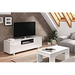 Habitdesign 0G6631BO - Mueble de comedor tv moderno , Color blanco brillo y ceniza, dimensiones 150 cm x 47cm x 41 cm de fondo