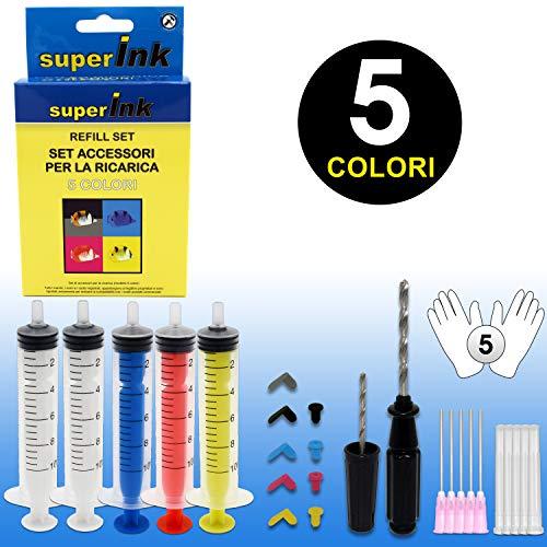 SuperInk Refill Set 5 Colores Cartuchos Tinta Canon