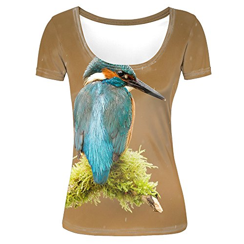 Women's Slim Fit Short Sleeve Lovely and Delicate Bird Pattern 3D Print Casual Scoop Neck T-Shirts Brown Tees XL