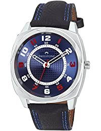 Swisstone FTREK027-BLU-BLK Blue Dial Black Leather Strap Analog Wrist Watch For Men/Boys