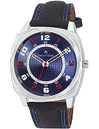 Swisstone FTREK027-BLU-BLK Blue Dial Black Leather Strap Analog Wrist Watch For Men/Boys