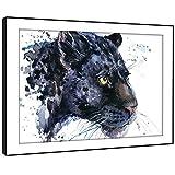 BFA792C gerahmtes Bild Druck Wandkunst - (Gray Panther Jaguar Aquarell) Modernes Tier Wohnzimmer Schlafzimmer Stück Wohnkultur Leicht Hang Guide (58X41cm)