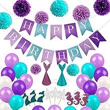 EZESO Decoraciones de Fiesta de Sirena Mermaid Theme Birthday Banner  Decorazioni Feliz cumpleaños con Papel de 54163c7387b