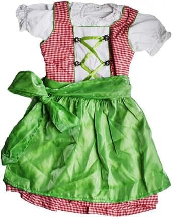 3-tlg Kinder Dirndl Mädchendirndl Dirndlbluse Dirndlschürze Kleid Rot/Grün Kariert, Größe:104