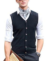 Hombres Chaleco de Punto Suéter Sin Mangas Cuello en V Cárdigan con Botones