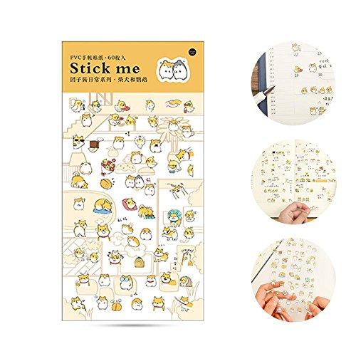 AOLVO Ephemera Pack (60 Unidades), Kawaii Estilo japonés DIY Pegatinas Decorativas colección de Pegatinas para álbumes de Recortes, calendarios, Arte, Manualidades para niños (19 x 9,5 x 0,5 cm)