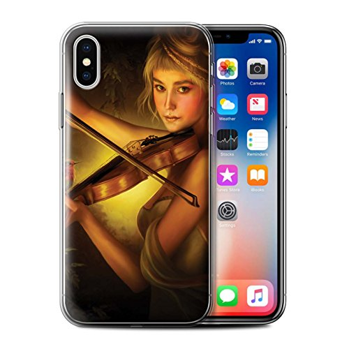 Officiel Elena Dudina Coque / Etui Gel TPU pour Apple iPhone X/10 / Harpe/Harpiste Design / Réconfort Musique Collection Beauté/Violon