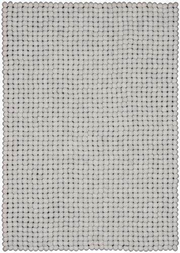 myfelt Linéa Filzkugelteppich, rechteckig, Schurwolle, weiß, 70 x 100 cm