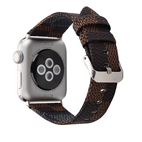 Banda para Apple Watch 38mm 42mm, moda Serpentina correa de muñeca de piel auténtica para mujeres y hombres, para Apple reloj Todas las series,Metal clásico de hebilla (42MM, Marrón)