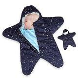 Dee Banna Baby Swaddle, Neugeborenen Stern Baby Boy Girl Bunting Winter Schlafsack warme Decke Swaddle für 0-12Monate Baby(blue)
