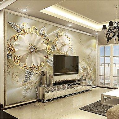 Preisvergleich Produktbild YEbao Weiße Jade Und Großen Blume Dekor 3D Mode Tapete Persönlichkeit Tapeten Wandgemälde Wandelement Leinwand Material Goldene Kirche Xl Xxl Xxxl 3Xl ( Usd)