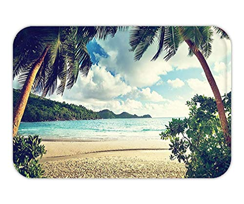 CHKWYN Doormat Palm Tree Sunset Decor Summer Holiday and Beach Vintage Style Picture Print Bedroom Living KidGirlBoyRoom Dorm Accessorie Green Blue Ecru Cream.jpg 15.7X23.6 Inches/40X60cm