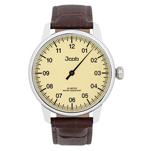 Jcob Einzeiger Uhr JCW001-LS01 Herren Beige Lederarmband Braun