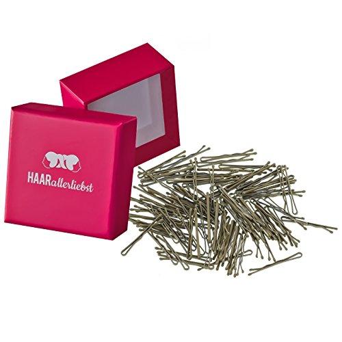 HAARallerliebst 100 Mini Haarklammern Haarnadeln Bobby Pins beige für Blonde Haare 3,4cm klein in Pinker Box