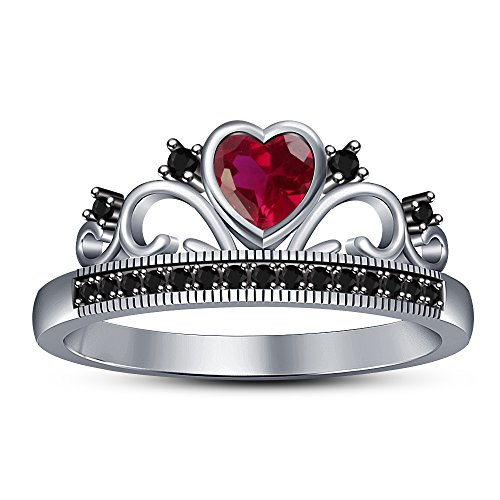 Vorra Fashion 925 Sterling-Silber Sterling-Silber 925 Herzschliff Rundschliff schwarz pink/rosa Saphir de synthèse (Schwarz Und Rosa Saphir-ring)