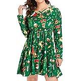 Bealeuy Kleider Damen Halloween Karneval Kostüm Festlich Mini Cocktailkleid Abendkleid Spitzenkleid Plus Size Weihnachten Kleid Langarm Grün Sexy V-Ausschnitt Kleider