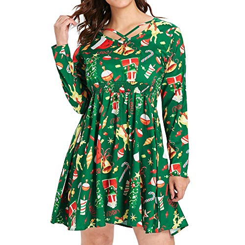 TEBAISE Weihnachten Kleid Damen Winter Niedlich Elche Santa Schneeflocken Weihnachtsdeko Muster Festlich Kleid Cocktailkleid Abendkleid Swing Kleid