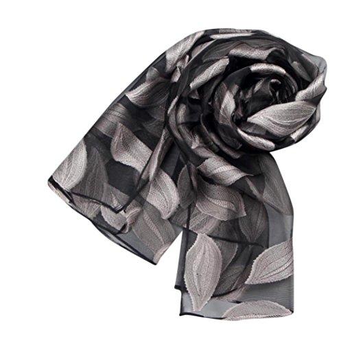 FEITONG Frauen Blätter Lange weiche Wrap Schal Organza Schals Silber