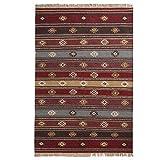 The Indian Arts Zanskar (indischen Kelim Teppich grau rot beige Farben 80% Wolle 20% Baumwolle 120x 280cm